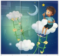 Panel szklany do szafy przesuwnej - A boy sitting at the cloud