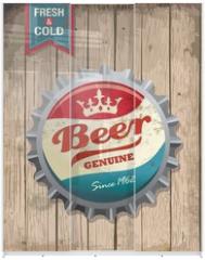 Panel szklany do szafy przesuwnej - illustration of vintage beer bottle cap with wooden background