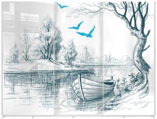 Panel szklany do szafy przesuwnej - Boat on river / delta vector sketch
