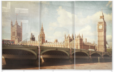 Panel szklany do szafy przesuwnej - The Palace of Westminster.  Toned image. aged paper texture.
