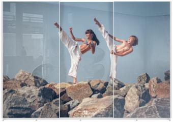 Panel szklany do szafy przesuwnej - Children training karate on the stone coast