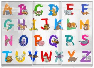 Panel szklany do szafy przesuwnej - Cartoon Alphabet with Animals Illustrations
