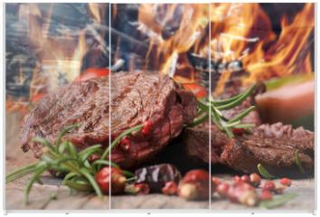 Panel szklany do szafy przesuwnej - gegrilltes Steak vom Rind