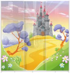 Panel szklany do szafy przesuwnej - Landscape with tower.