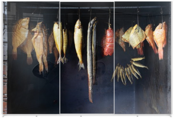 Panel szklany do szafy przesuwnej - Marine fish from smokehouse is a great source of omega 3