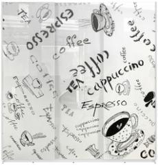 Panel szklany do szafy przesuwnej - Drawing ink sketch of coffee (square)