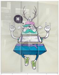 Panel szklany do szafy przesuwnej - Triangle hipster bizarre character