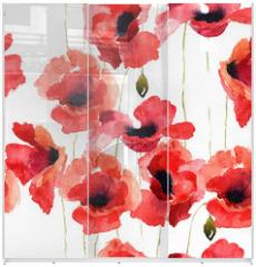 Panel szklany do szafy przesuwnej - Stylized Poppy flowers illustration