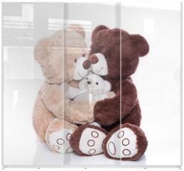 Panel szklany do szafy przesuwnej - Teddybären - Familie mit Mutter, Vater und Kind