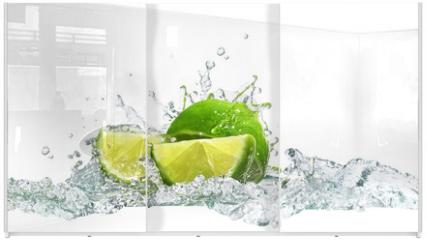 Panel szklany do szafy przesuwnej - lime and water