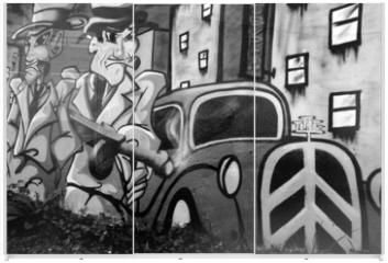 Panel szklany do szafy przesuwnej - graffiti avec deux gangsters
