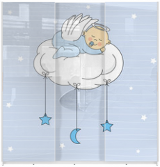 Panel szklany do szafy przesuwnej - baby boy sleeping on a cloud. Birthday Card