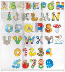 Panel szklany do szafy przesuwnej - English alphabet and numerals with toys