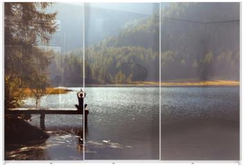 Panel szklany do szafy przesuwnej - meditation and yoga practicing at sunset