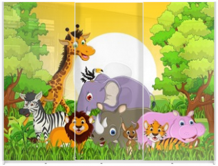 Panel szklany do szafy przesuwnej - cute animal wildlife with forest background
