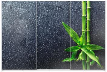 Panel szklany do szafy przesuwnej - spa background - drops and bamboo on black