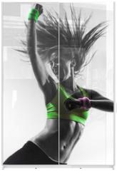 Panel szklany do szafy przesuwnej - woman exercising fitness zumba dancing silhouette