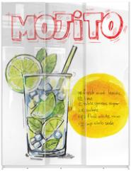 Panel szklany do szafy przesuwnej - vector mojito