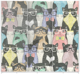 Panel szklany do szafy przesuwnej - Seamless pattern with hipster cute cats for children