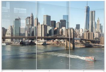 Panel szklany do szafy przesuwnej - New York City Brooklyn Bridge downtown skyline