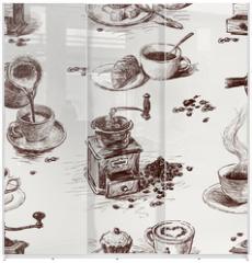 Panel szklany do szafy przesuwnej - pattern of coffee