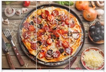 Panel szklany do szafy przesuwnej - Fresh baked pizza