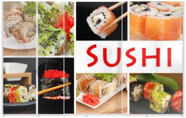 Panel szklany do szafy przesuwnej - Tasty sushi collage