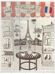 Panel szklany do szafy przesuwnej - Parisian street restaurant with views of the Eiffel Tower