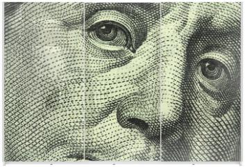 Panel szklany do szafy przesuwnej - one hundred dollar bill closeup