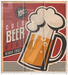 Panel szklany do szafy przesuwnej - Retro beer vector poster
