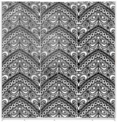 Panel szklany do szafy przesuwnej - Lace black seamless pattern with flowers on white background
