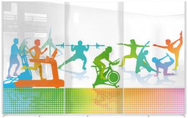 Panel szklany do szafy przesuwnej - Fitness und Sport