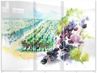Panel szklany do szafy przesuwnej - vineyards