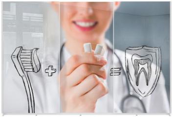 Panel szklany do szafy przesuwnej - Healthy teeth concept. Dentist's recommendations
