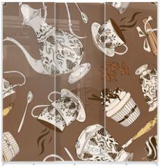 Panel szklany do szafy przesuwnej - Seamless pattern of coffee service