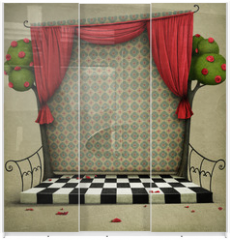 Panel szklany do szafy przesuwnej - Room with red curtains and vintage wallpaper