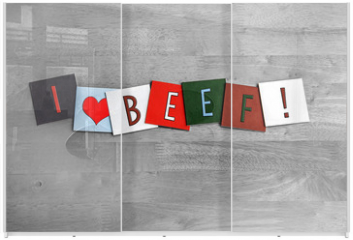 Panel szklany do szafy przesuwnej - I Love Beef, sign series for meats, food and cooking.