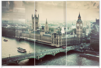 Panel szklany do szafy przesuwnej - London, the UK. Big Ben, the Palace of Westminster. Vintage