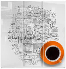 Panel szklany do szafy przesuwnej - Coffee time