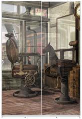Panel szklany do szafy przesuwnej - Orientalny salon fryzjerski retro