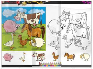 Panel szklany do szafy przesuwnej - farm animals coloring page set