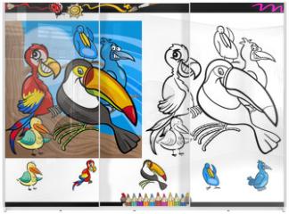 Panel szklany do szafy przesuwnej - exotic birds cartoon coloring page set