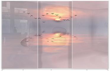 Panel szklany do szafy przesuwnej - amanecer de colores suaves