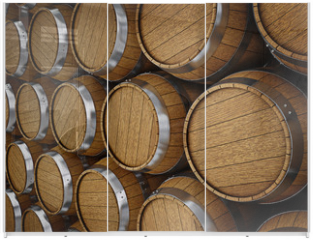 Panel szklany do szafy przesuwnej - Wooden oak brandy wine beer barrels rows