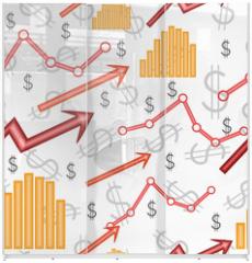 Panel szklany do szafy przesuwnej - Business diagram. Seamless vector wallpaper