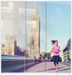 Panel szklany do szafy przesuwnej - London woman running Big Ben - England lifestyle