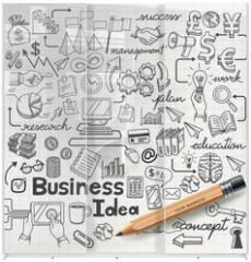 Panel szklany do szafy przesuwnej - Business Idea doodles icons set. Vector illustration.