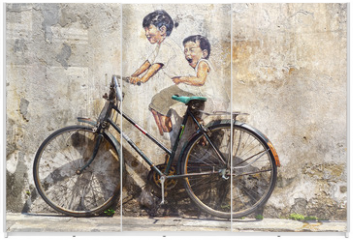 "Panel szklany do szafy przesuwnej - ""Little Children on a Bicycle"" Mural."