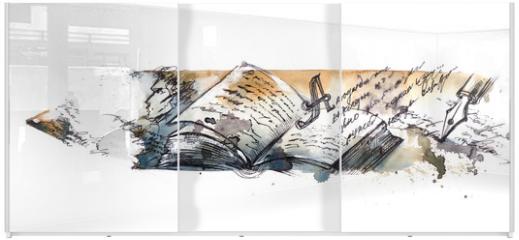 Panel szklany do szafy przesuwnej - literature