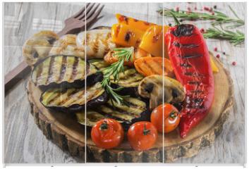 Panel szklany do szafy przesuwnej - grilled vegetables
